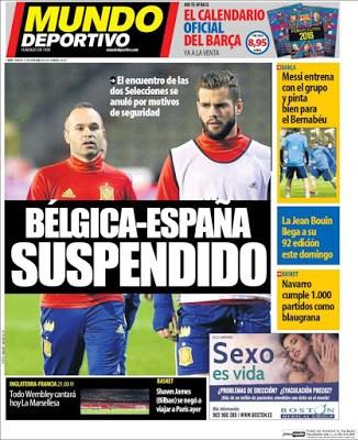 Portada Mundo Deportivo: partido suspendido belgica españa