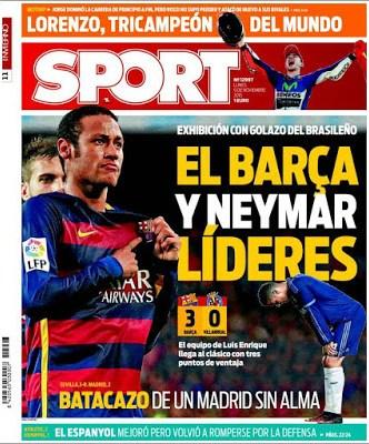 Portada Sport: Barça y Neymar líderes