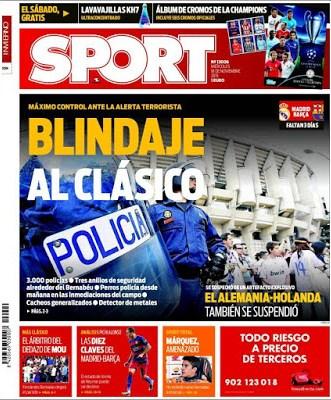Portada Sport: Blindaje al clásico