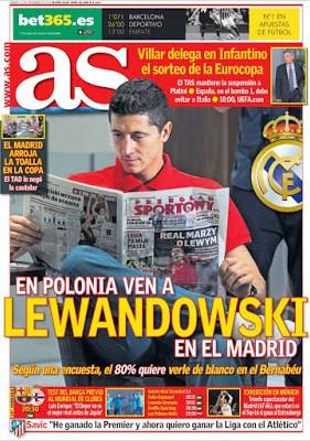 Portada AS: Lewandowski real madrid