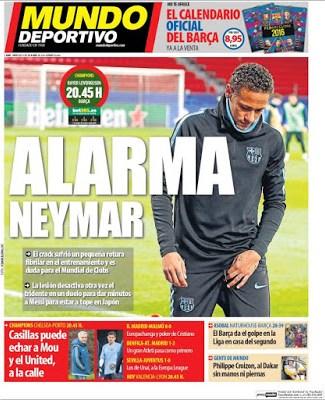 Portada Mundo Deportivo: alarma Neymar
