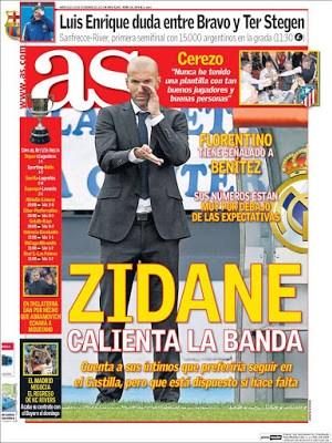 Portada As: Zidane calienta en banda