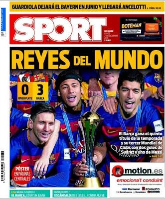 Portada Sport: Reyes del Mundo barcelona