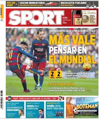 Portada Sport: Más vale pensar en el Mundial