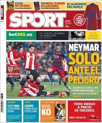 Portada Sport: Neymar solo ante el peligro
