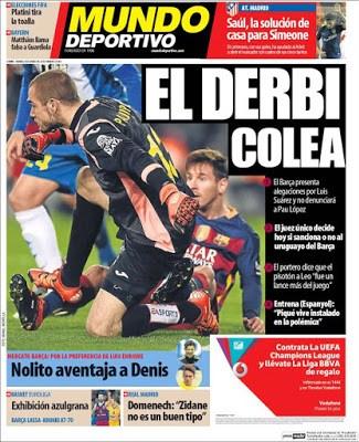 Portada Mundo Deportivo: el derbi colea