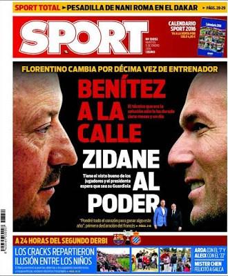 Portada Sport: Benítez a la Calle, Zidane al poder