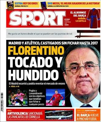 Portada Sport: Florentino, tocado y hundido
