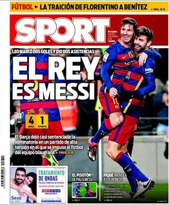 Portada Sport: el Rey es Messi