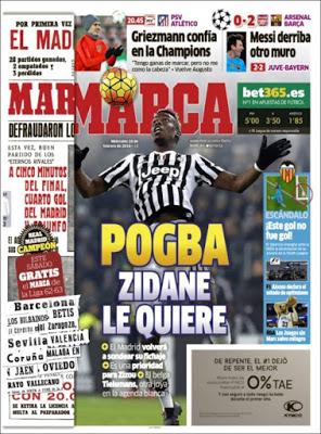 Portada Marca: Zidene quiere a Pogba