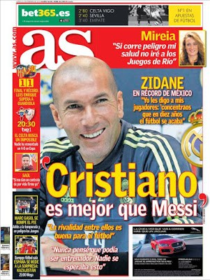 Portada AS: Cristiano es mejor que Messi