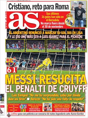 Portada AS: Messi resucita el penalti de Cruyff