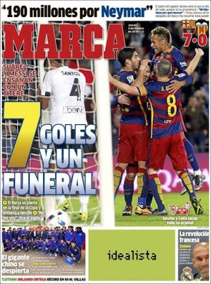 Portada Marca: siete goles y un funeral