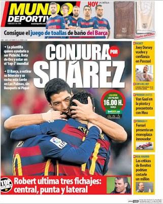 Portada Mundo Deportivo: conjura por Suárez
