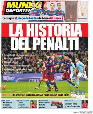 Portada Mundo Deportivo: la historia del penalti asistencia de Messi