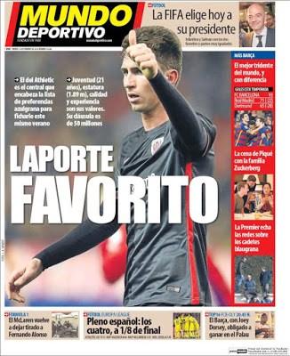 Portada Mundo Deportivo: Laporte favorito