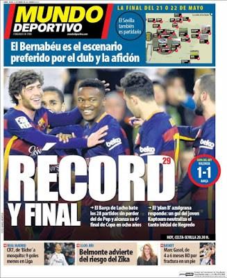 Portada Mundo Deportivo: Barça récord
