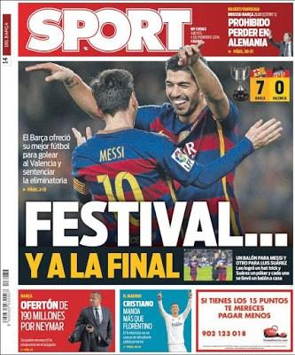 Portada Sport: festival y a la final