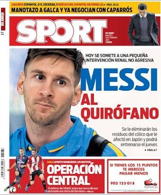 Portada Sport: Messi al quirófano