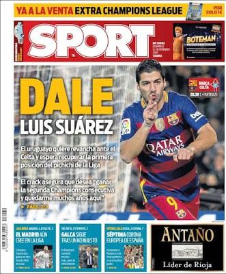 Portada Sport: Dale Luis Suárez