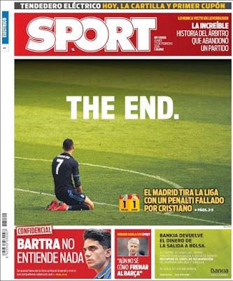 Portada Sport: The End cristiano ronaldo malaga real madrid