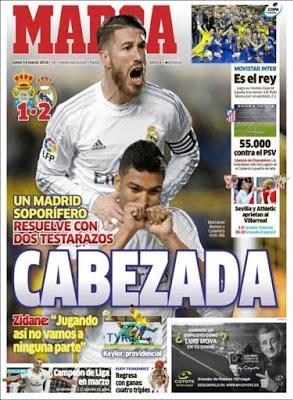Portada Marca: cabezeada del Madrid
