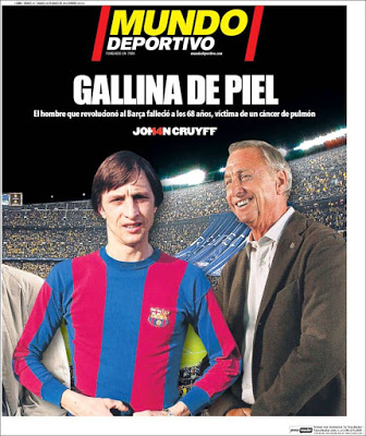 Portada Mundo Deportivo: Muere Johan Cruyff