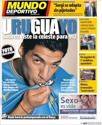 Portada Mundo Deportivo: Suárez vuelve a la celeste