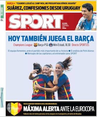 Portada Sport: Máxima alerta ante la Eurocopa