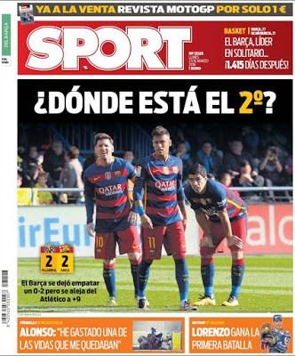 Portada Sport: dónde está el segundo?