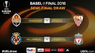 Semifinales Europa League 2015-2016. Calendario
