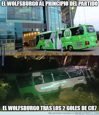 Los memes del Real Madrid-Wolfsburgo cristiano ronaldo autobus