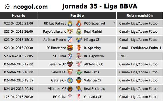 Partidos Jornada 35. Liga Española BBVA 2016
