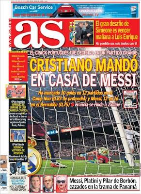 Portada AS: Cristiano mandó en casa de Messi