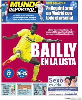 Portada Mundo Deportivo: Bailly en la lista