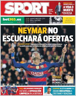 Portada Sport: Neymar no escuchará ofertas