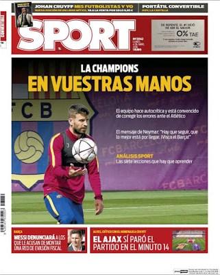 Portada Sport: la Champions en vuestras manos