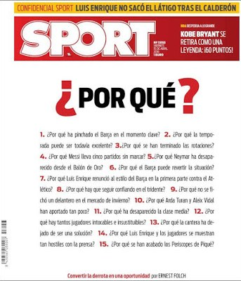 Portada Sport: ¿Por qué? bajon barcelona