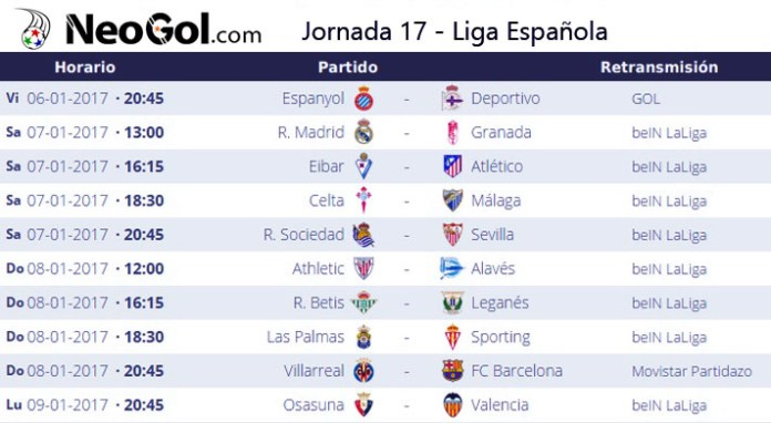 Jornada 17 Liga Española 2017