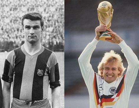 Sándor Kocsis(Hungría) y Jürgen Klinsmann(Alemania)
