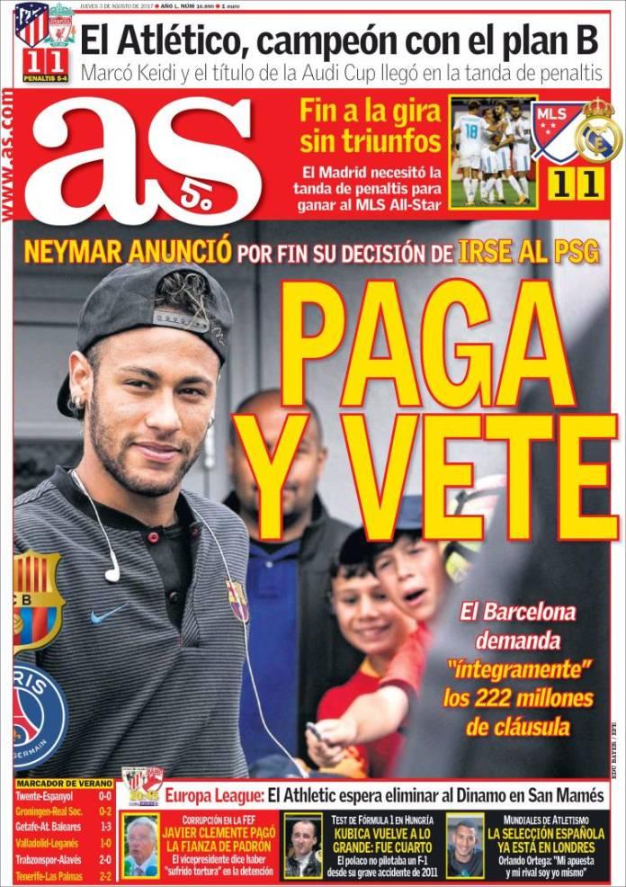 Neymar Ficha por el PSG portada as