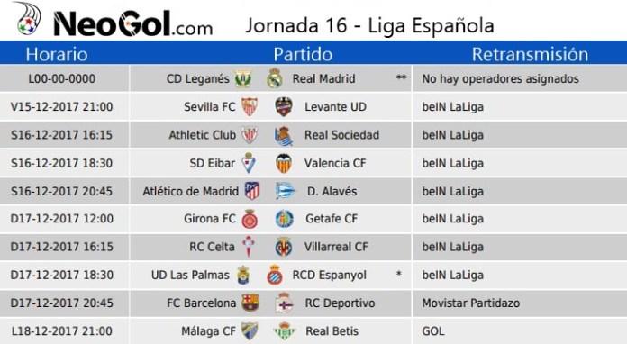 Jornada 16 Liga Española 2017