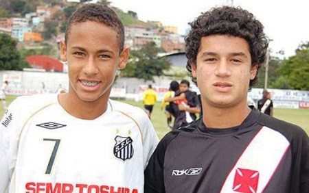 Neymar y Coutinho en juveniles