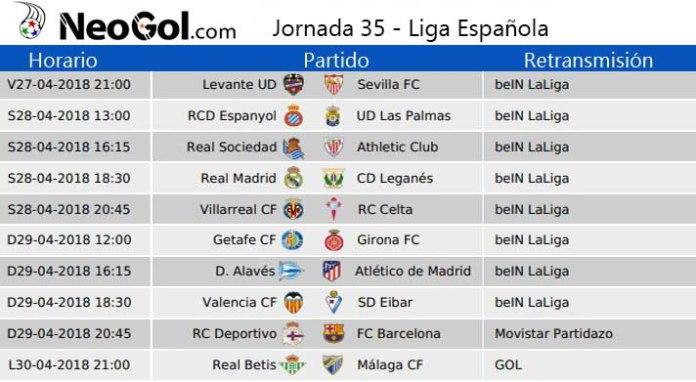 Jornada 35 Liga Española 2018