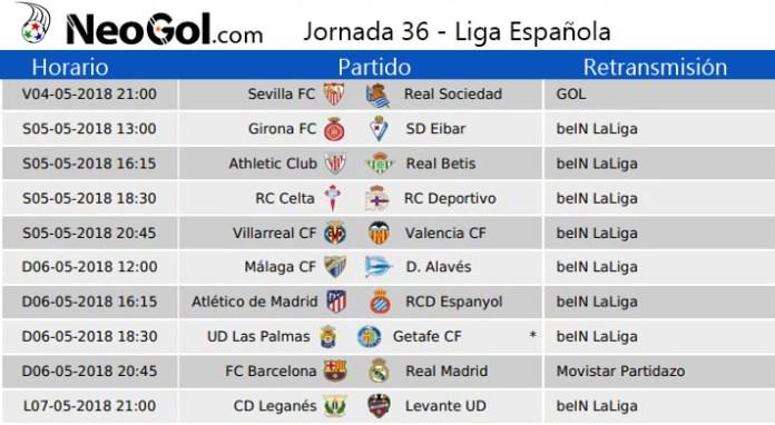 Jornada 36 Liga Española 2018