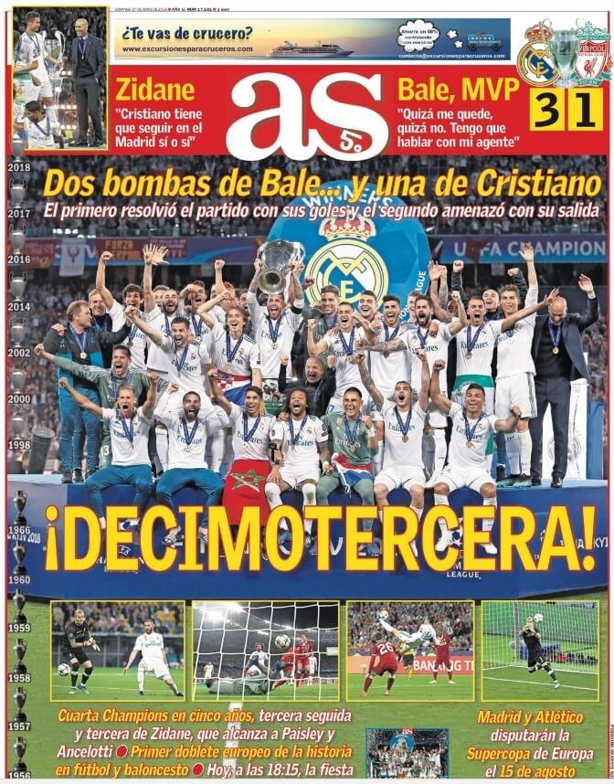 Portada as Real Madrid Campeón Champions 2018