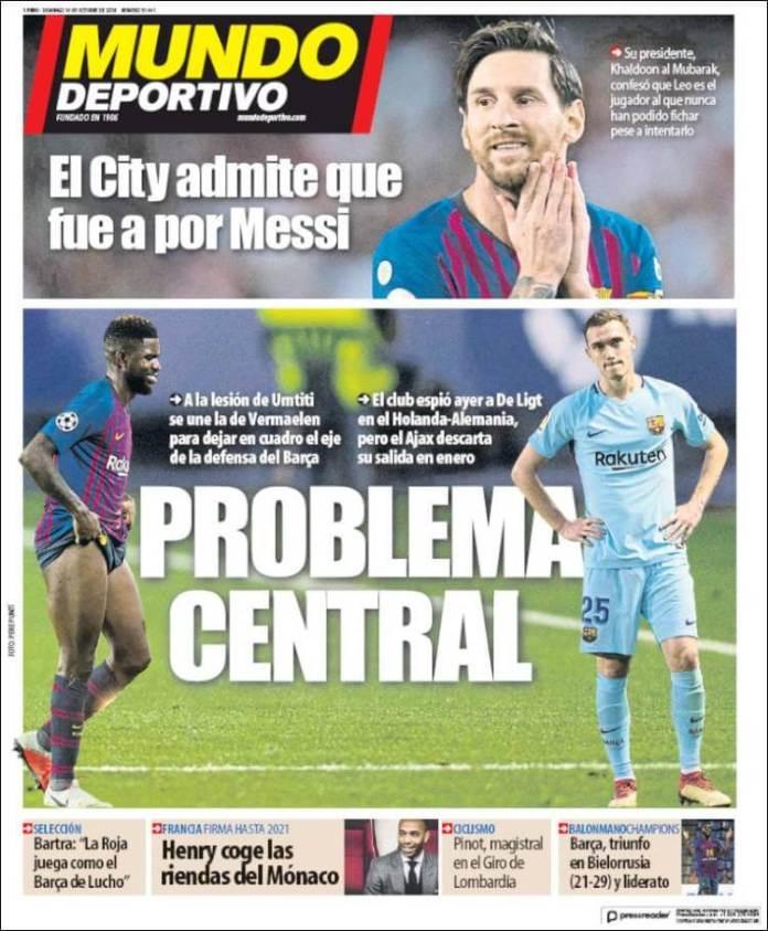 Portadas Mundo Deportivo 14/10/2018
