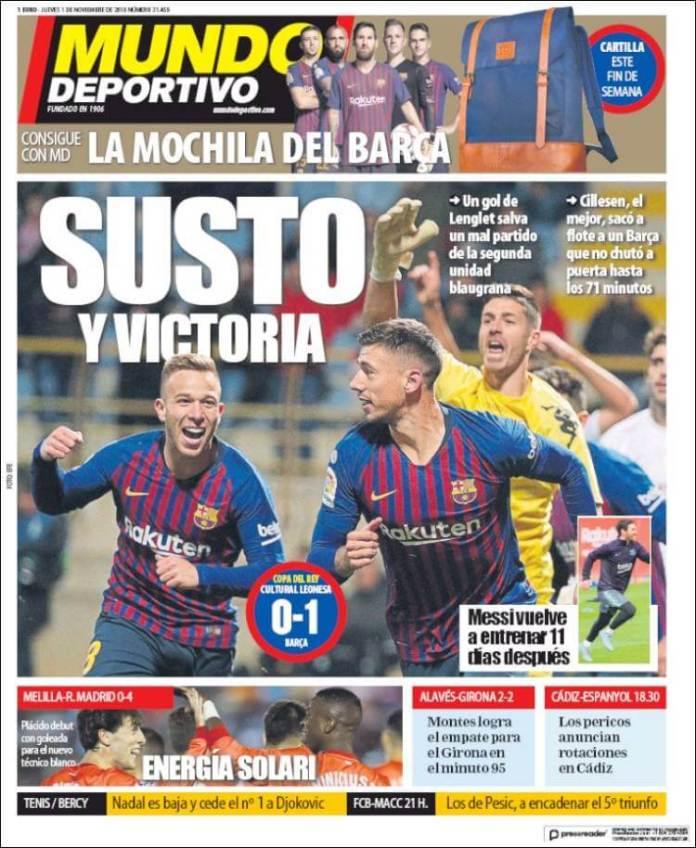 Portada Mundo Deportivo 1/11/2018