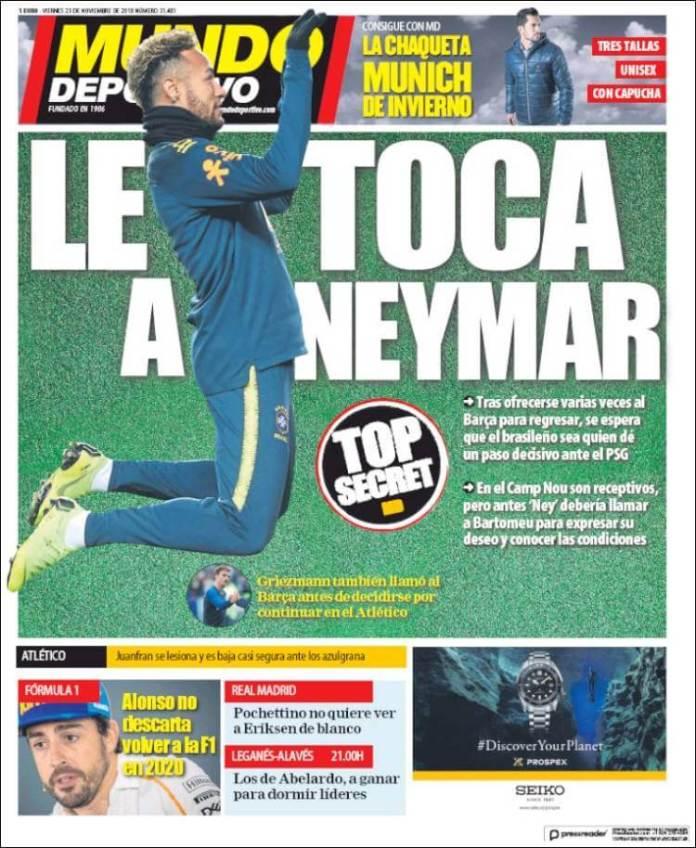 Portada Mundo Deportivo 23/11/2018