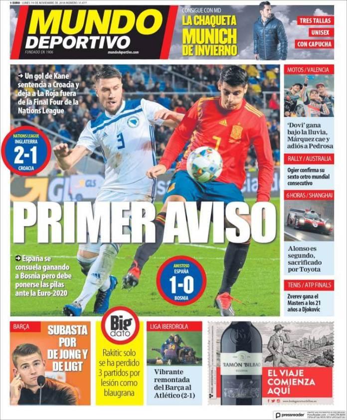 Portada Mundo Deportivo 19/11/2018
